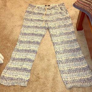 Rewash blue & cream 100% rayon wide leg pants XXL